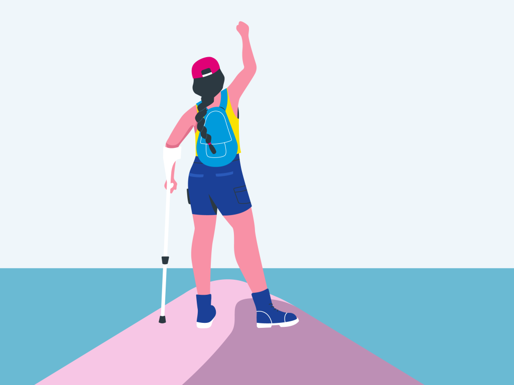 Illustration of woman climbing a mountain